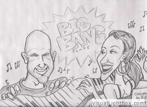 Caricature of Billy Ward and Julie Martinez- Simpson at The Big Bang Tempe 2010