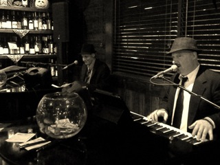 Dueling Pianos at Vincitorio's Restautant and Wine Bar in Tempe, AZ 2015. From Left- Pete Wilson, Billy Ward