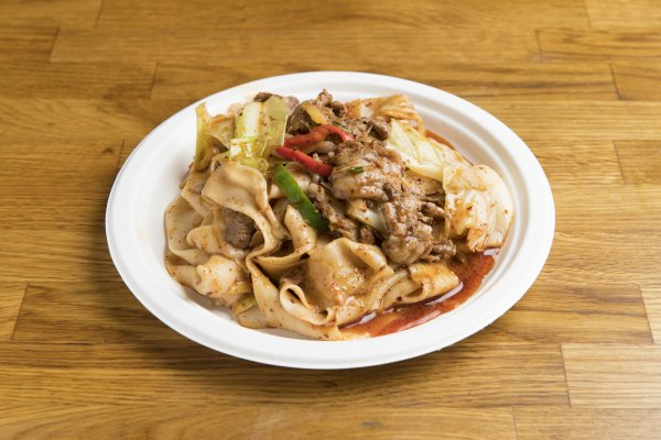 [N1] Spicy Cumin Lamb Hand-Ripped Noodles   Our biangbiang wide, hand-ripped noodles mixed with sauteed spicy cumin lamb.