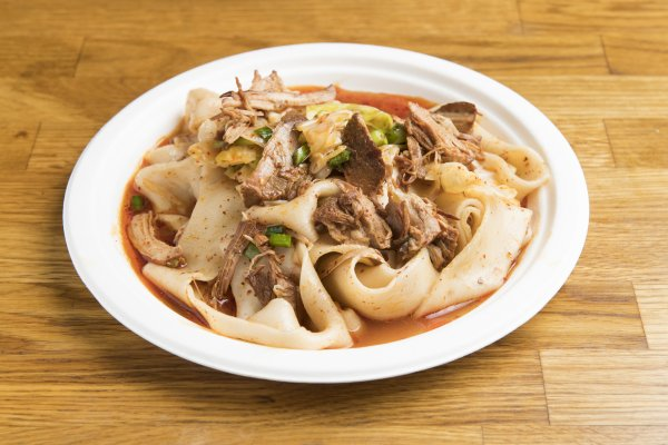 [N4] Stewed Pork Hand-Ripped Noodles   Our biangbiang wide, hand-ripped noodles mixed with pulled pieces of stewed lean pork belly meat, and mixed in a sauce containing its own soy-sauce based stew.