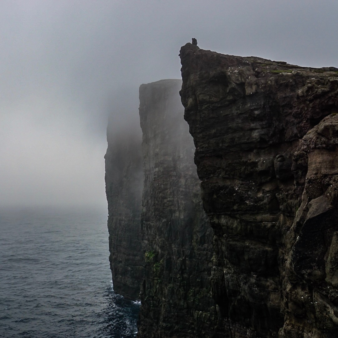 Foggy view of the cliffs above