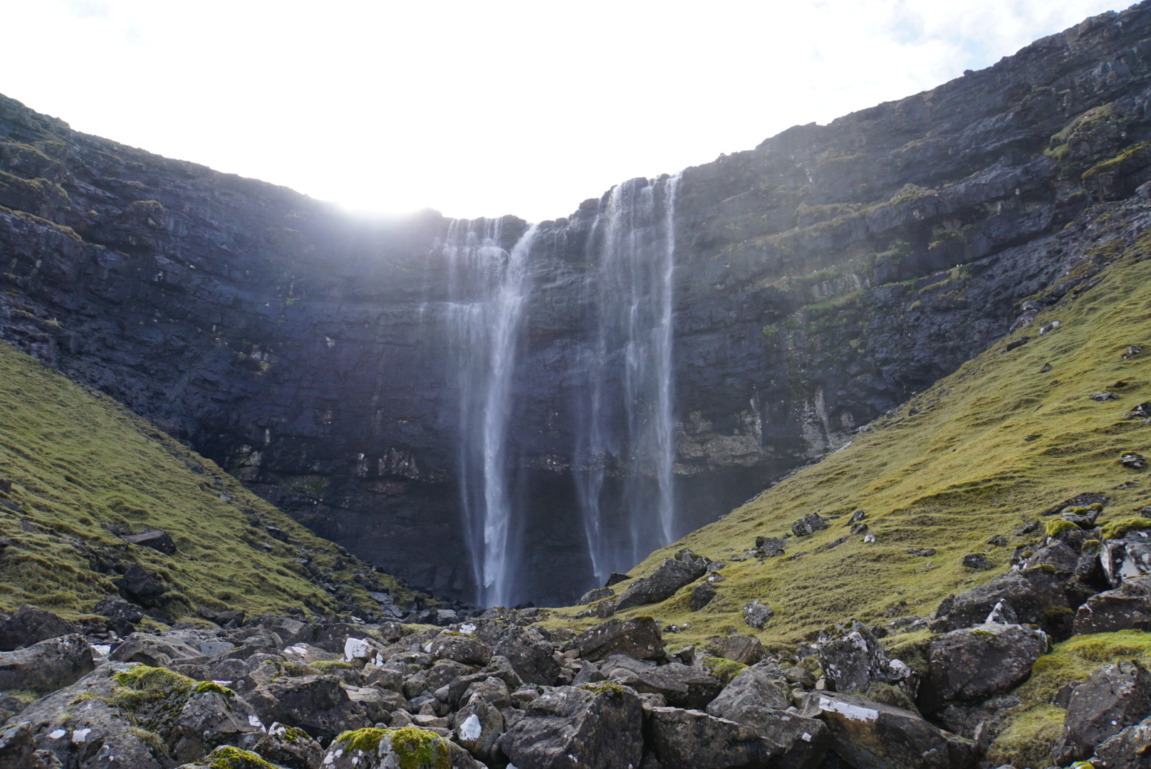 A view on the second tier, forward is behind the waterfall