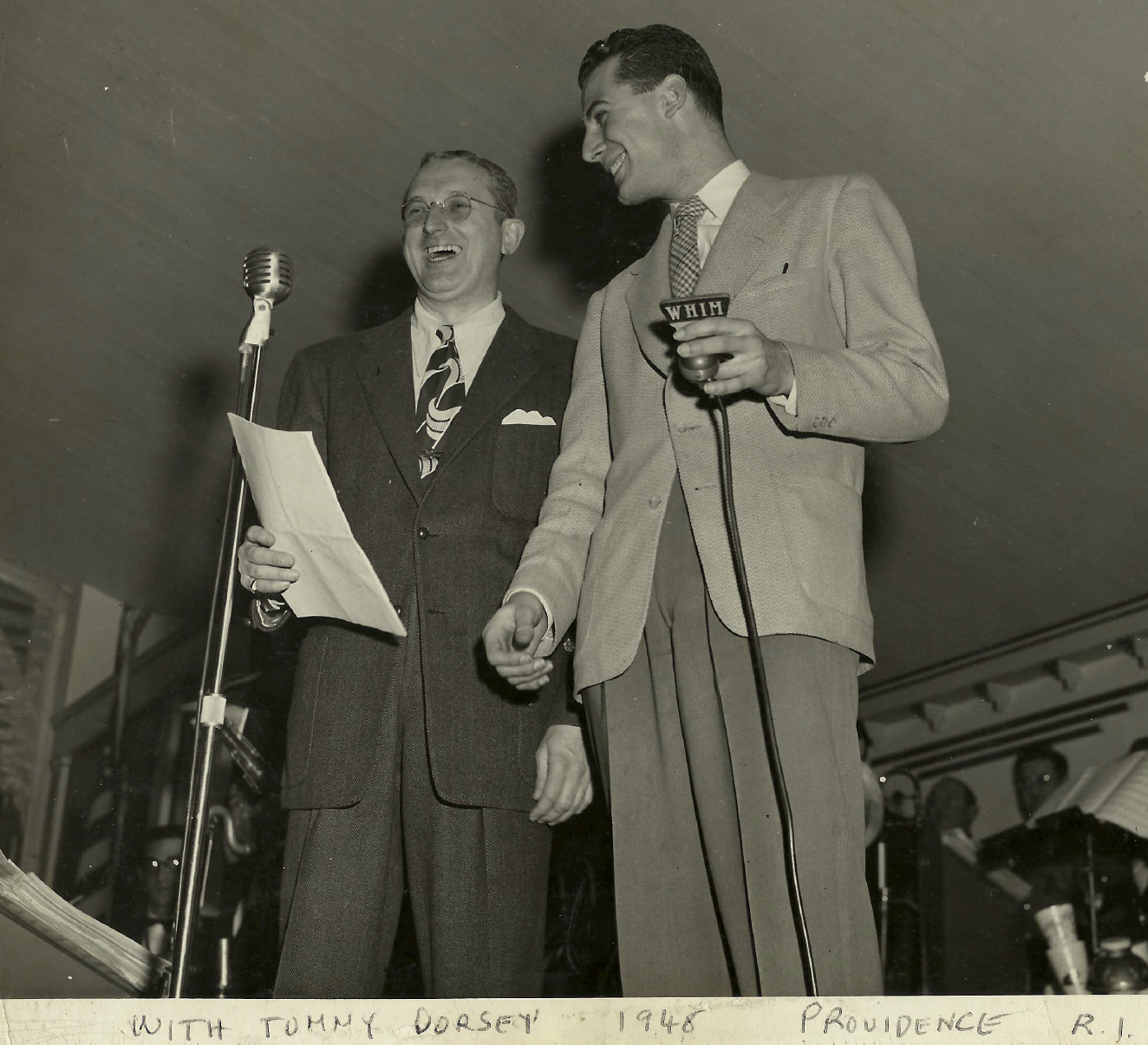 Jack Ellsworth with famous American jazz trombonist, composer, conductor and bandleader of the Big Band era- Tommy Dorsey - Providence, Rhode Island 1948