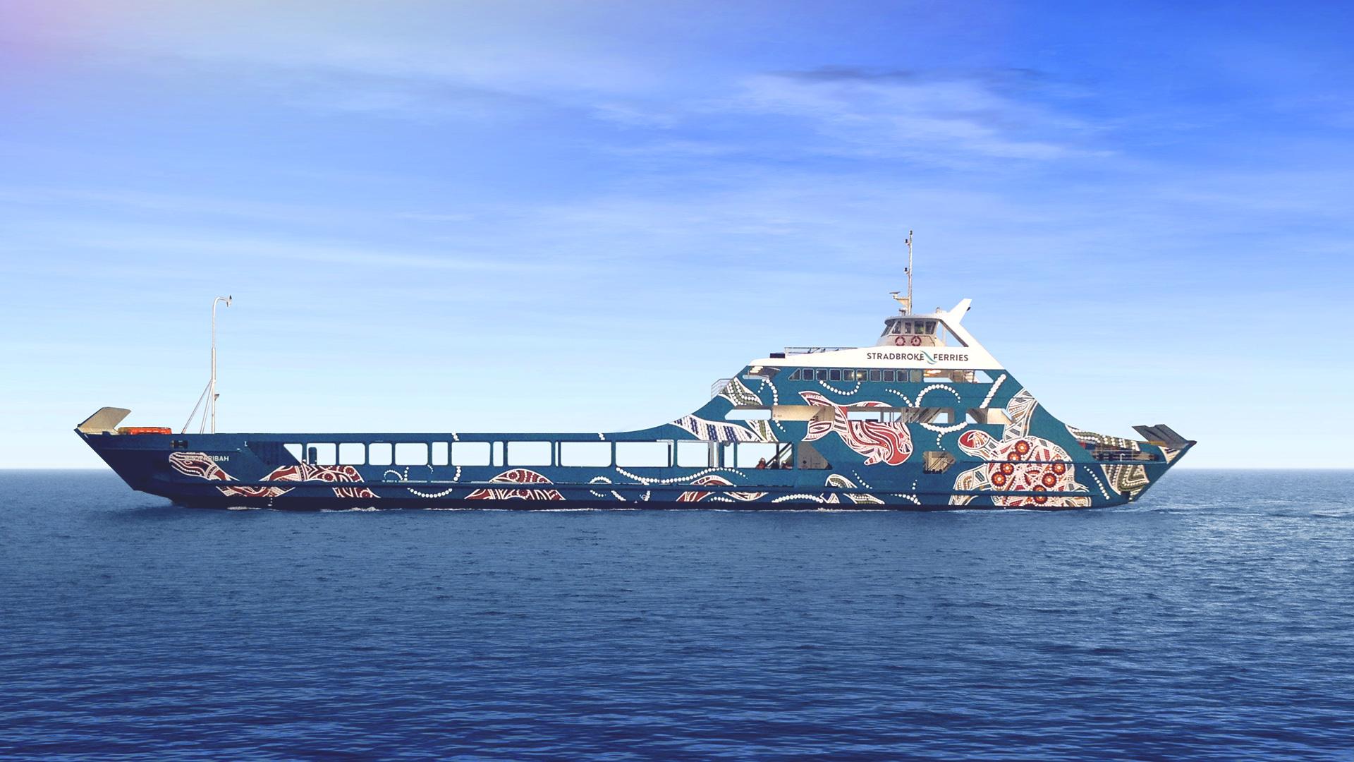 Stradbroke Ferries ferry decorated in artwork by local Aboriginal artist