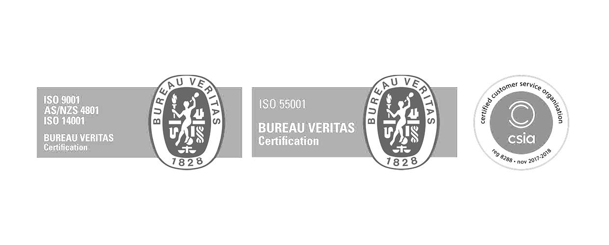 Bureau Veritas Certification ISO 9001 AS/NZS 4801 ISO 14001, ISO 55001, Certified Customer Service Organisation CSIA