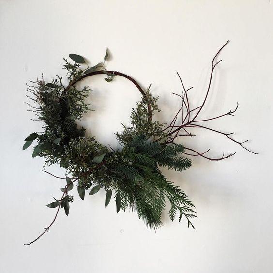 Holiday wreath with cedar, pine, fir, juniper and sticks
