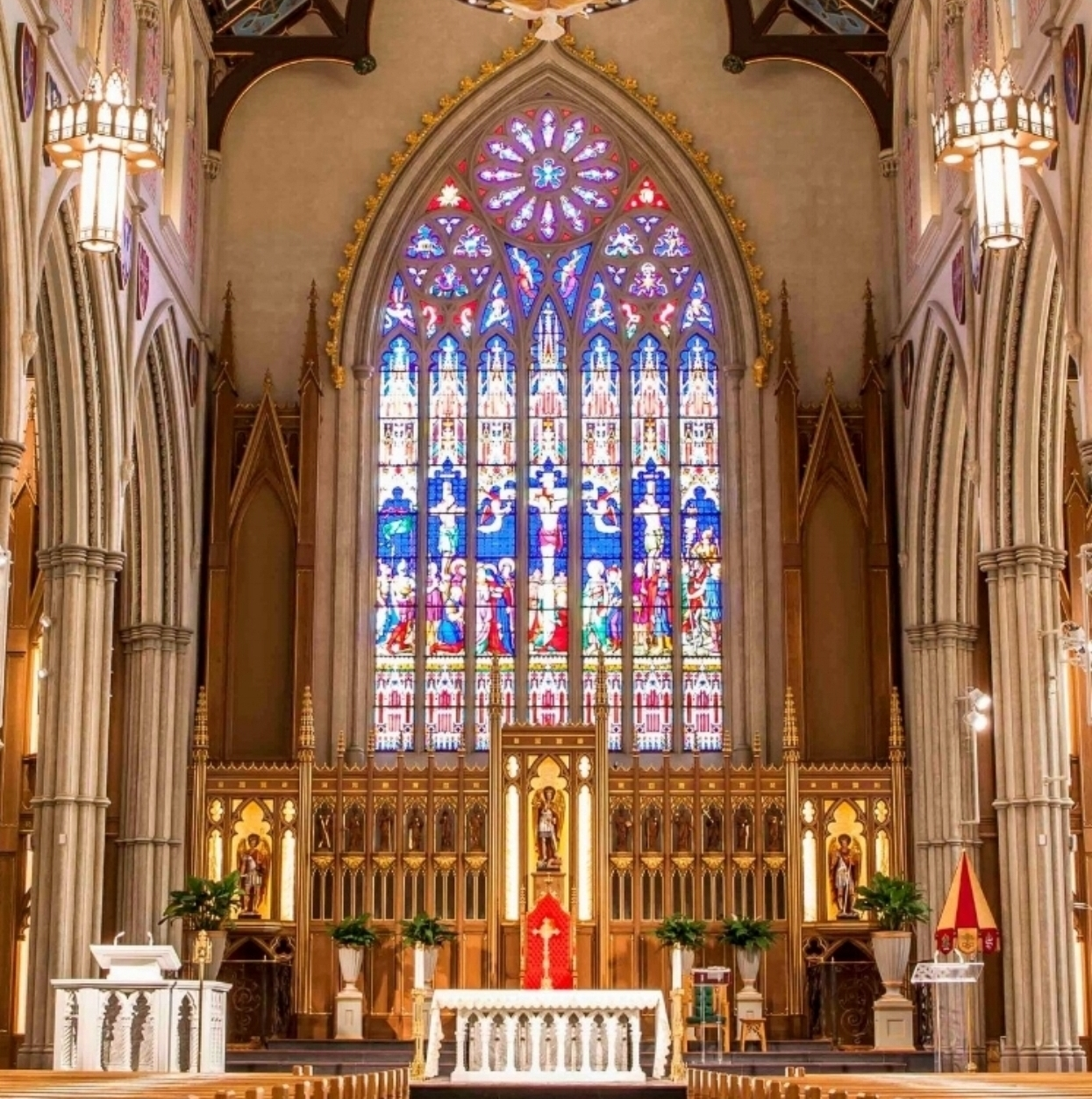 St. Michael's Cathedral Chancel Organ Speakers are in custom-built cabinets on each side of the beautiful stained glass sanctuary window