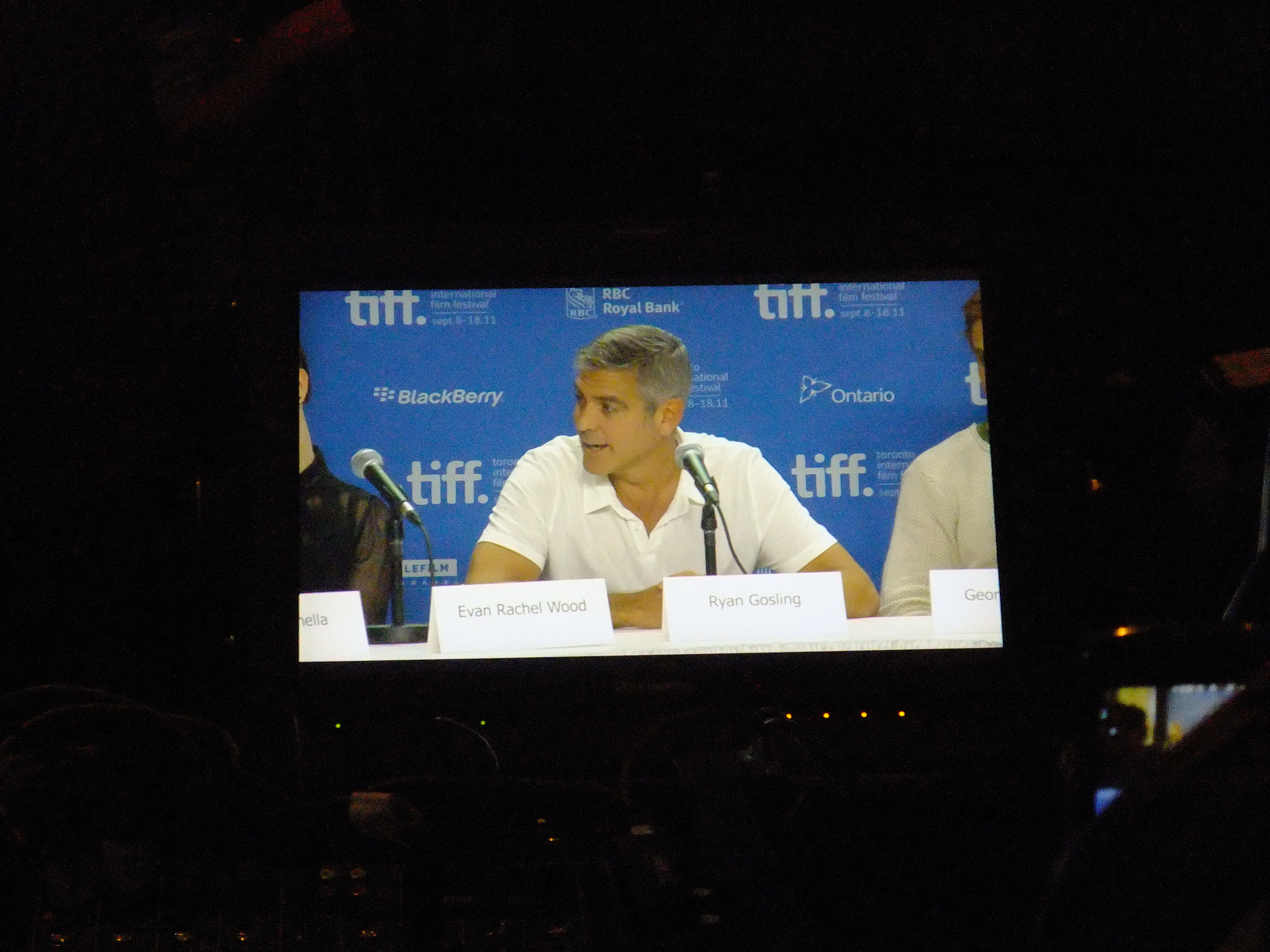 Screen shot of George Clooney at the interview table