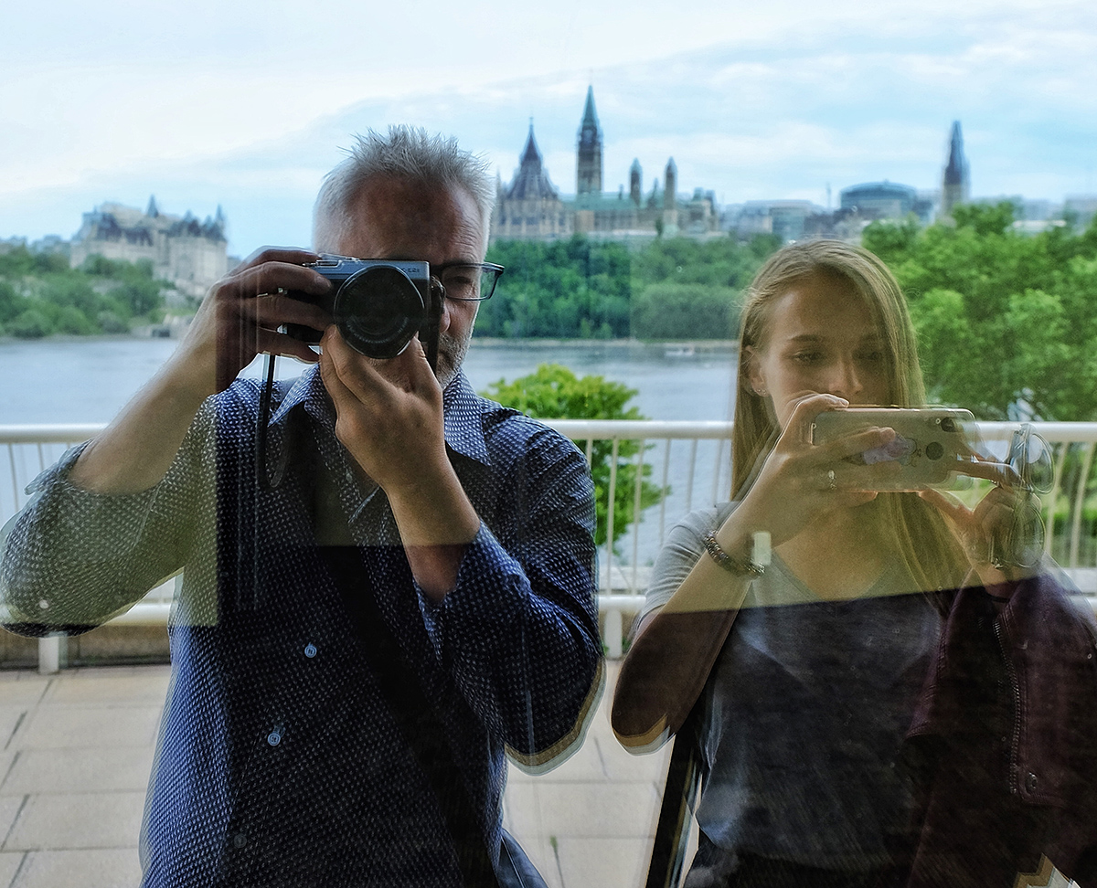 Lara with  Ottawa photographer  and FLC mentor, Dwayne Brown, on a 'discovery photowalk'.