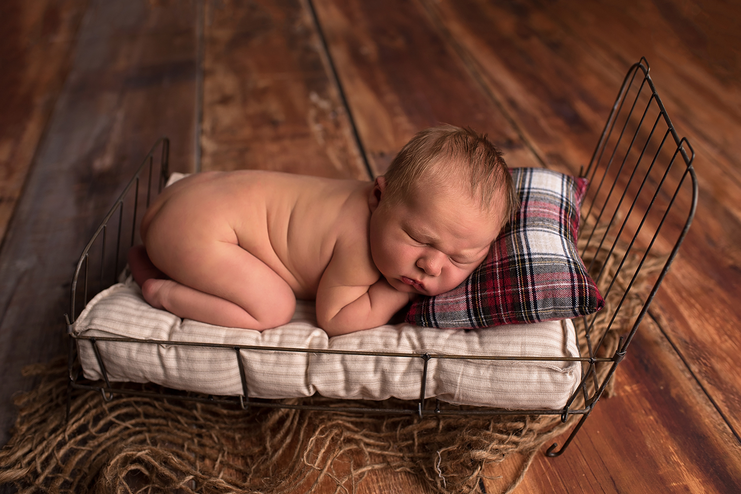 newborn baby lies on his belly on a little  metal bed with a plaid pillow