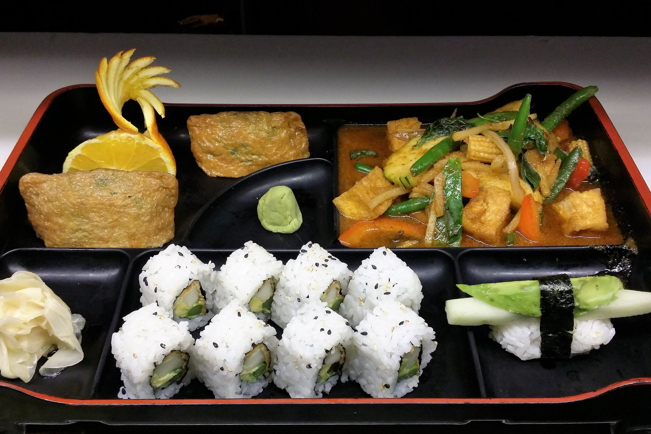 Bento-B (Lunch) - Veggie roll, 1 veggie Nigiri & 2 tofu bags(stuffed with seaweed salad) ( Check the Lunch menu for more details.)