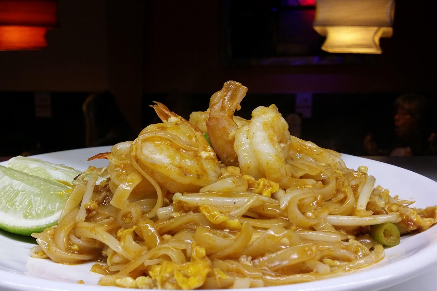 Shrimp pad Thai - Stir-fried Rice Noodles with ground Peanuts, Bean Sprouts, Egg and Scallion.