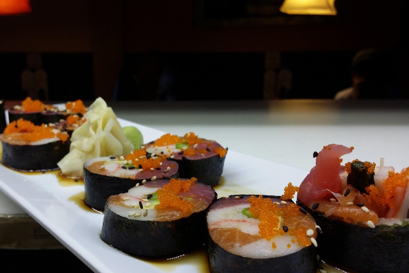Sweet Dream Roll - Tuna, Salmon, Escolar, Krab, Masago, Asparagus, Avocado and served with Ponzu Sauce (no Rice).
