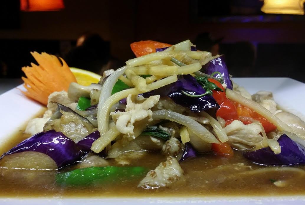 Exotic Eggplant - Sautéed Onion, Red pepper, Corn, Mushroom, Snow Peas and Bamboo in Sweet Basil Sauce.