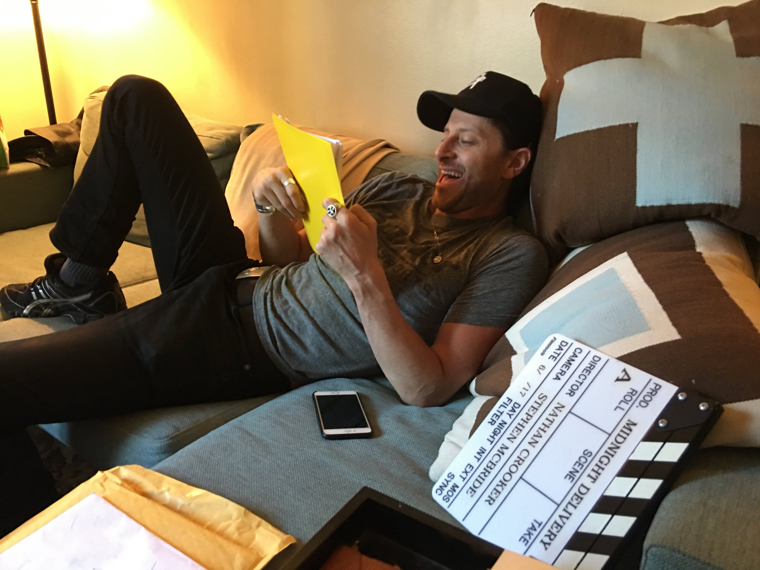 Director Nathan Crooker finds something funny in his horror script.