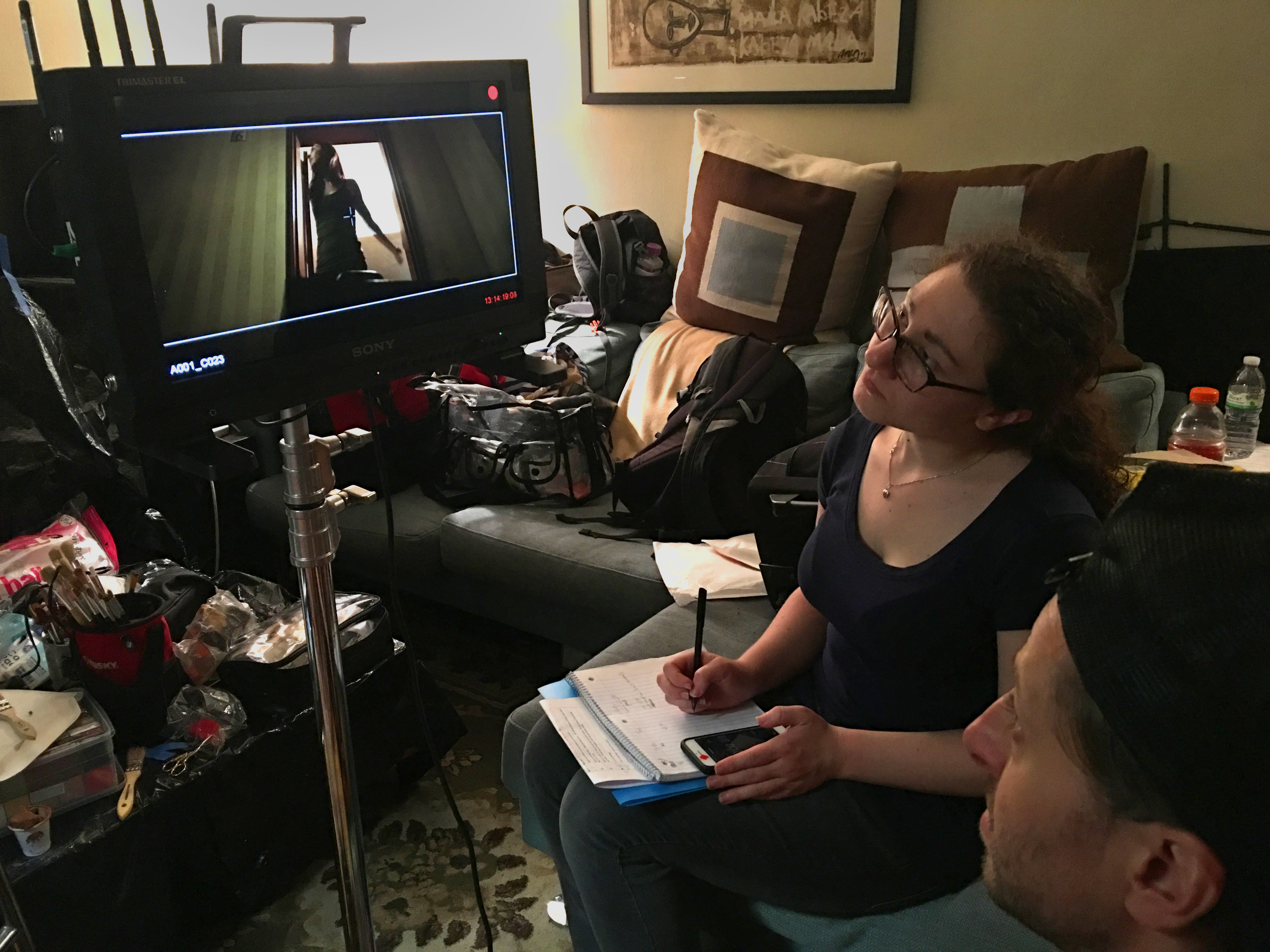 Script Supervisor Rebecca Markowitz keeps the Midnight crew on point.