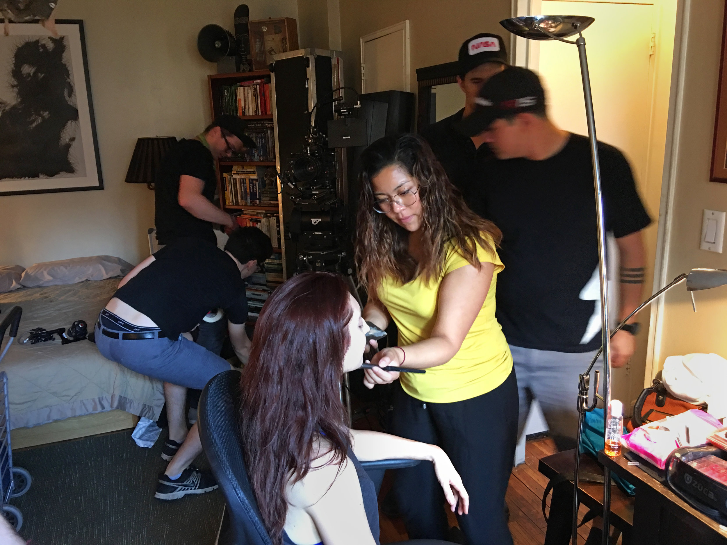 Hair and Makeup Artist Meraly Lopez gets Actress Danielle Guldin camera ready.