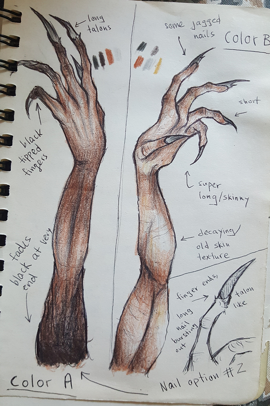 "Jessie Eden's sketches for ""little monster."""