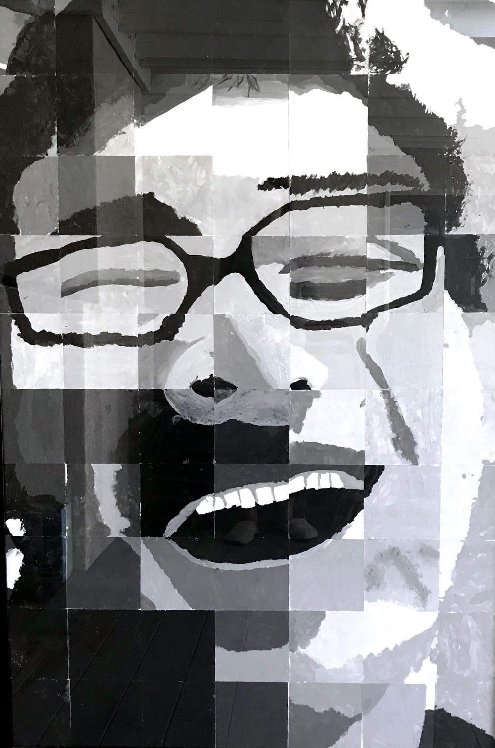 """Matthew""    Self Portrait  Series  70 individual mosaic squares  Acrylic Paint on Canvas Paper, 32"" x 62"""