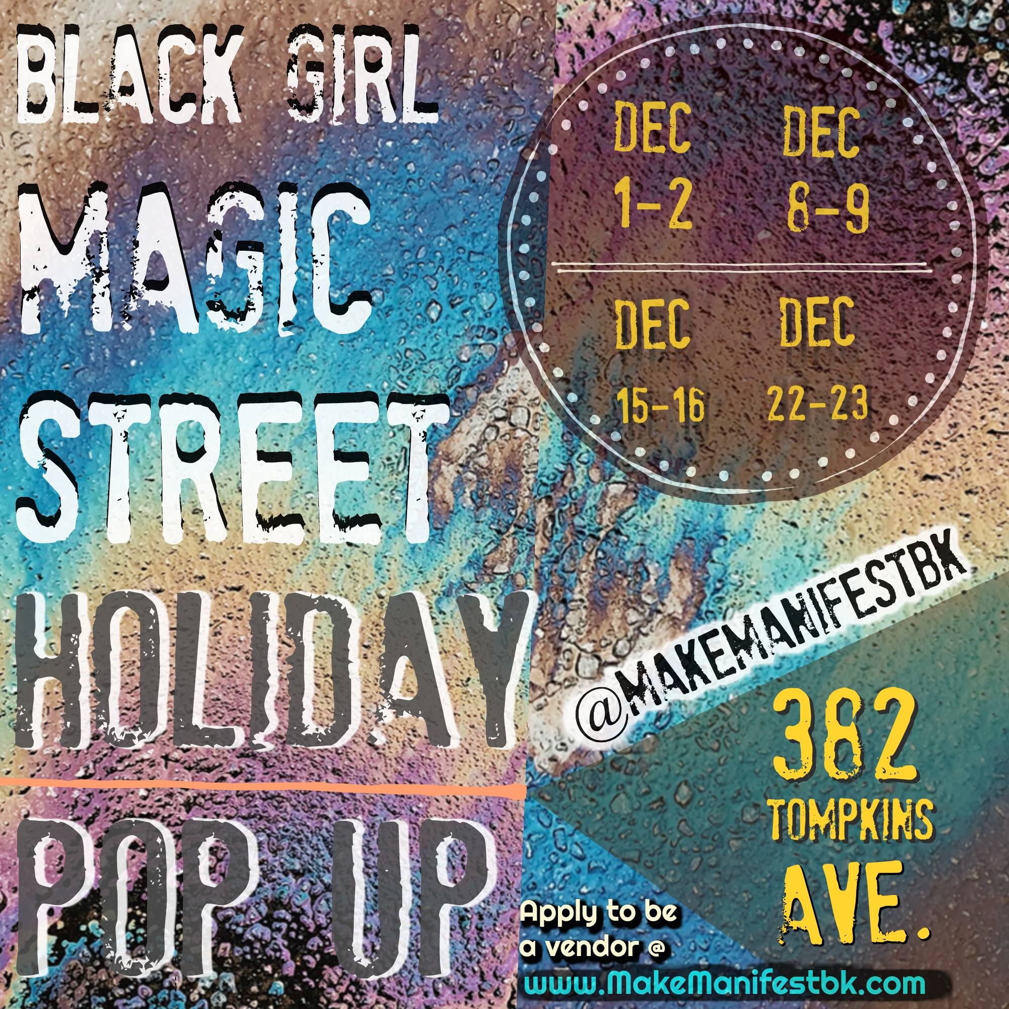 A beautifully curated Holiday Pop Up Series @ the Make Manifest Space! - vendor spaces full!