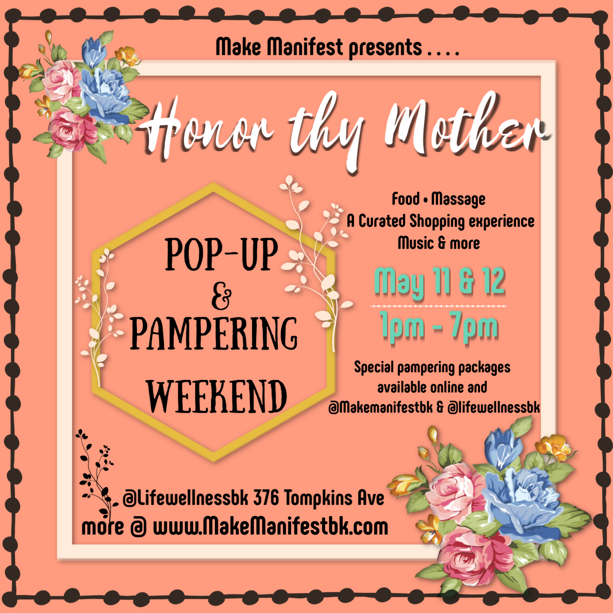 Honor thy Mother Pop-Up & Pampering Weekend @lifewellnessbk - Beautifully curated event on backyard garden oasis @ the Life Wellness Bk space in Bed-stuy Brooklyn. Limited vendor spaces available. Apply here.