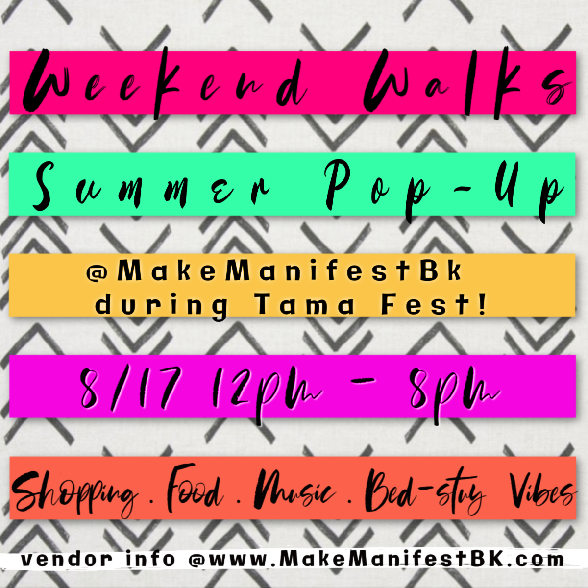 Weekend Walks Summer PoP Up! - Summer time is always full-up of vibes on Tompkins Ave! This year's first Summer Pop-Up is happening during the annual TAMA FEST so there is more fun, more vibes, and more opportunities to share your works with the masses!NEXT DATE AUGUST 17THVendor spaces are limited!!!! Apply HERE