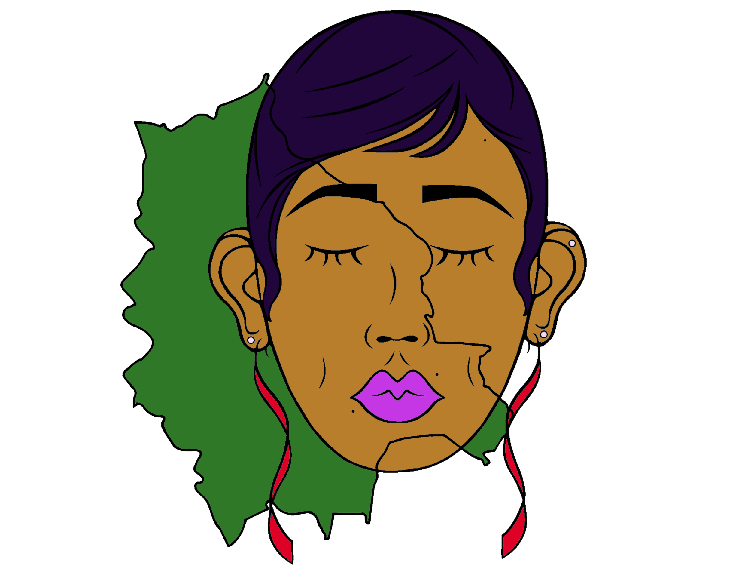 Miss Bolivia. Her country, along with various others, is a part of the African Diaspora. The strong features in her face represent her African traits. You'll also notice there's a free hand sketch of Bolivia blended in with her face. This shows she is a part of her homeland, and her homeland a part of her. -
