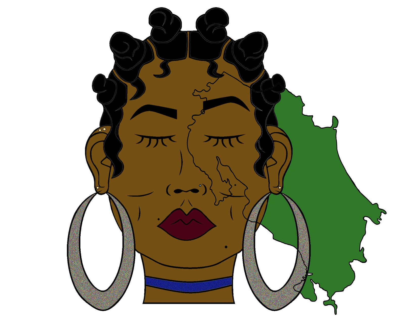 Miss Costa Rica. Her hair is styled in bantu knots representing her culture and big hoop earrings with dark red lips to enhance her style and beauty. You'll notice Costa Rica sketched into her face, paying homage to her homeland and providing representation for the Afro Costa Rican people. -