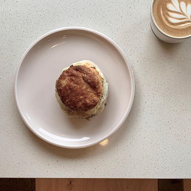 BREAKFAST SANDWICH FEATURE . . turkey sausage, havarti, fried egg, buttermilk biscuit.