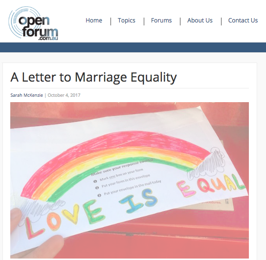 A Letter to Marriage Equality