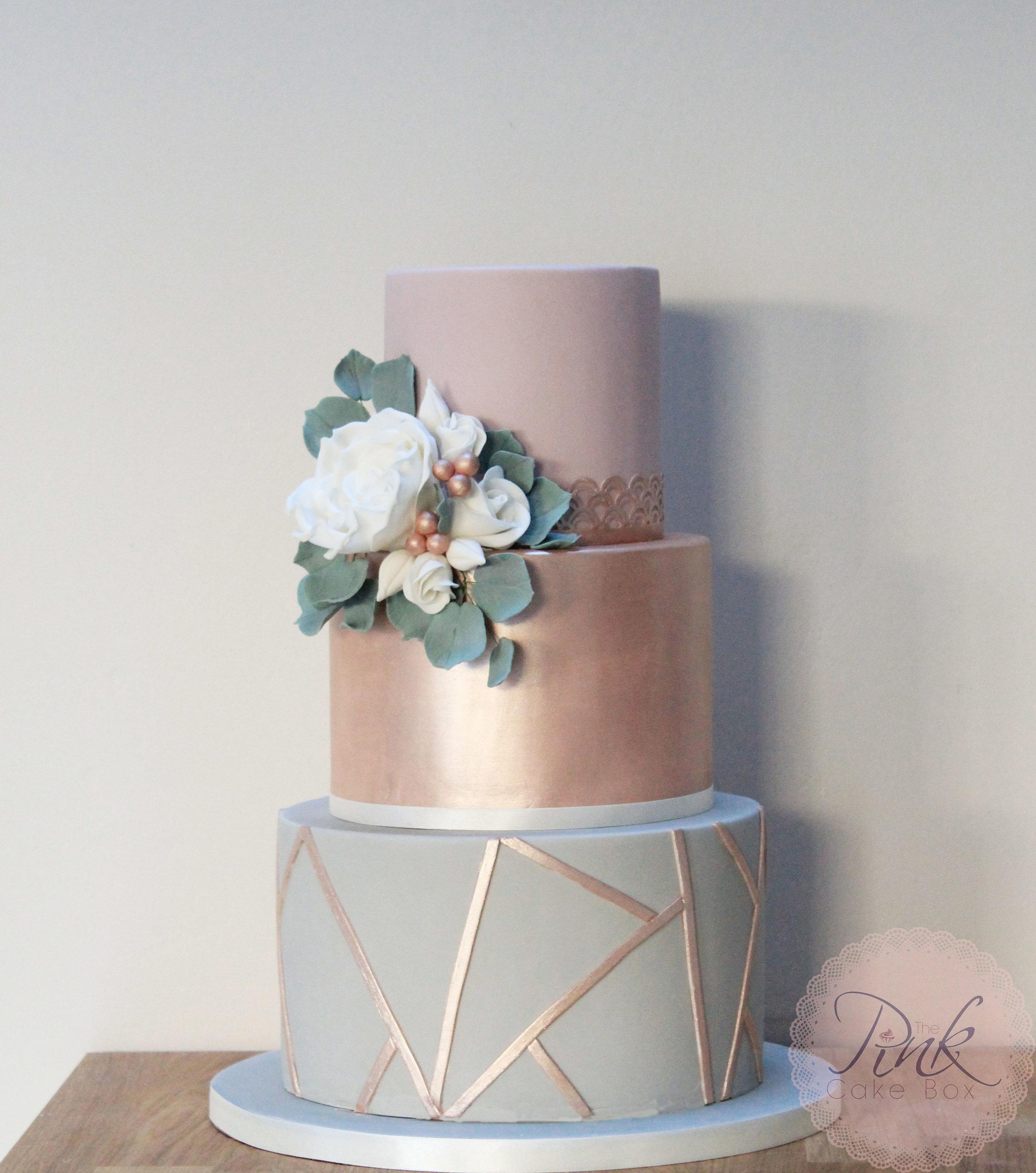 rose gold geometric modern wedding cake design.jpg