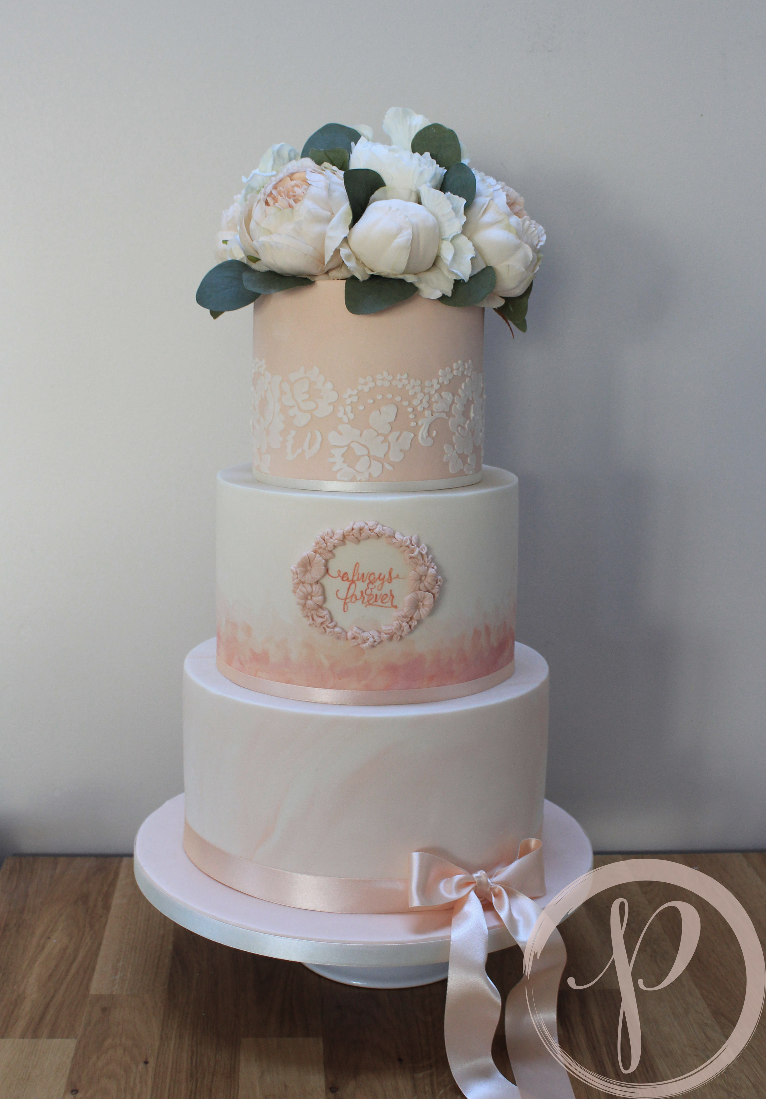 peach wedding cake marble watercolour lace calligraphy.jpg