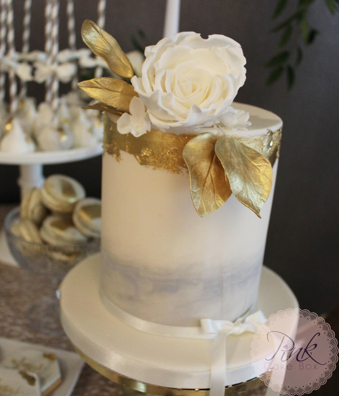 gold leaf grey watercolour baby cake.jpg