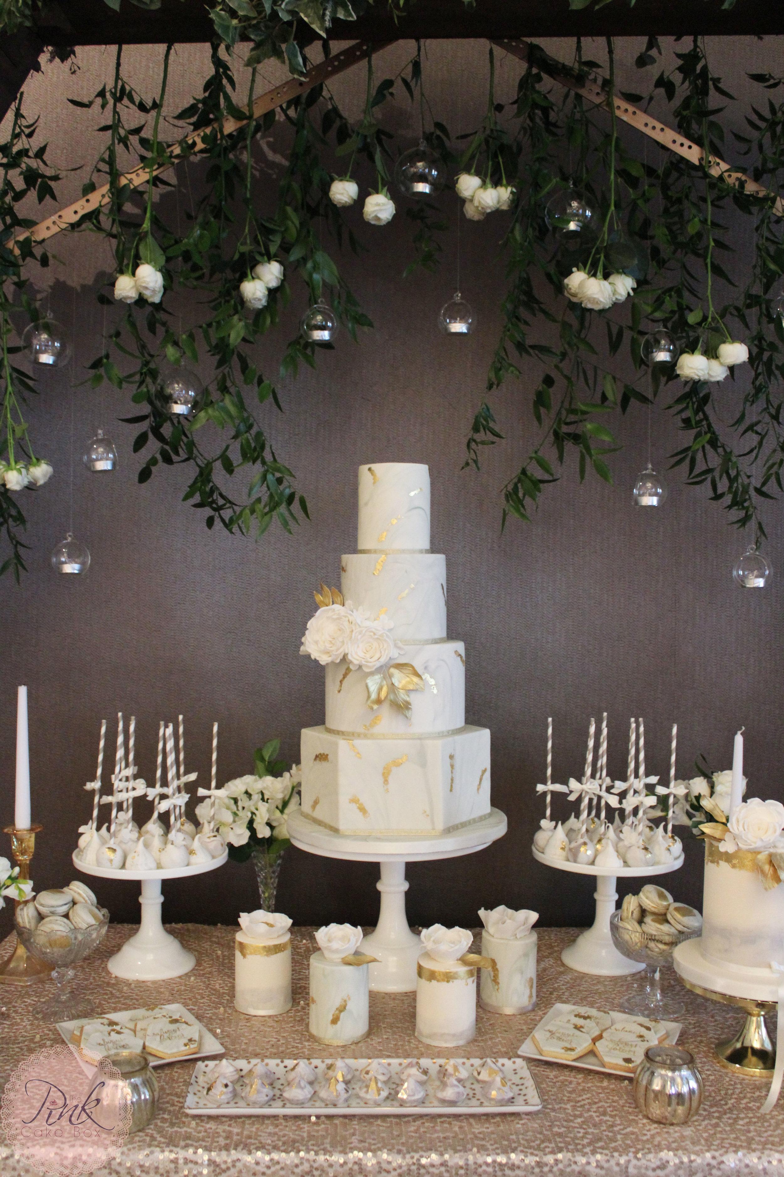 marble hexagon gold leaf wedding cake table.jpg