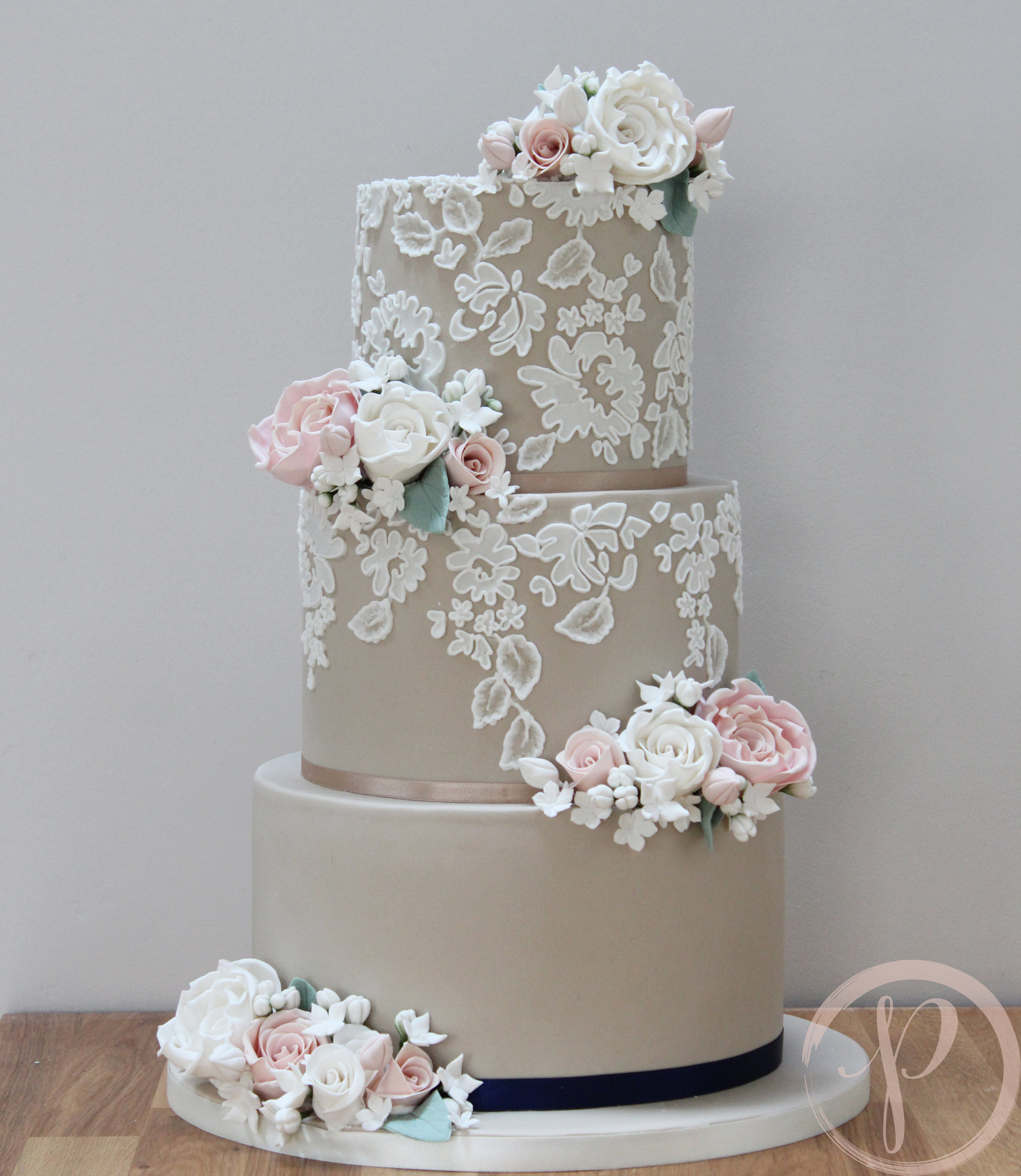mocha and lace wedding cake with sugar flowers.jpg