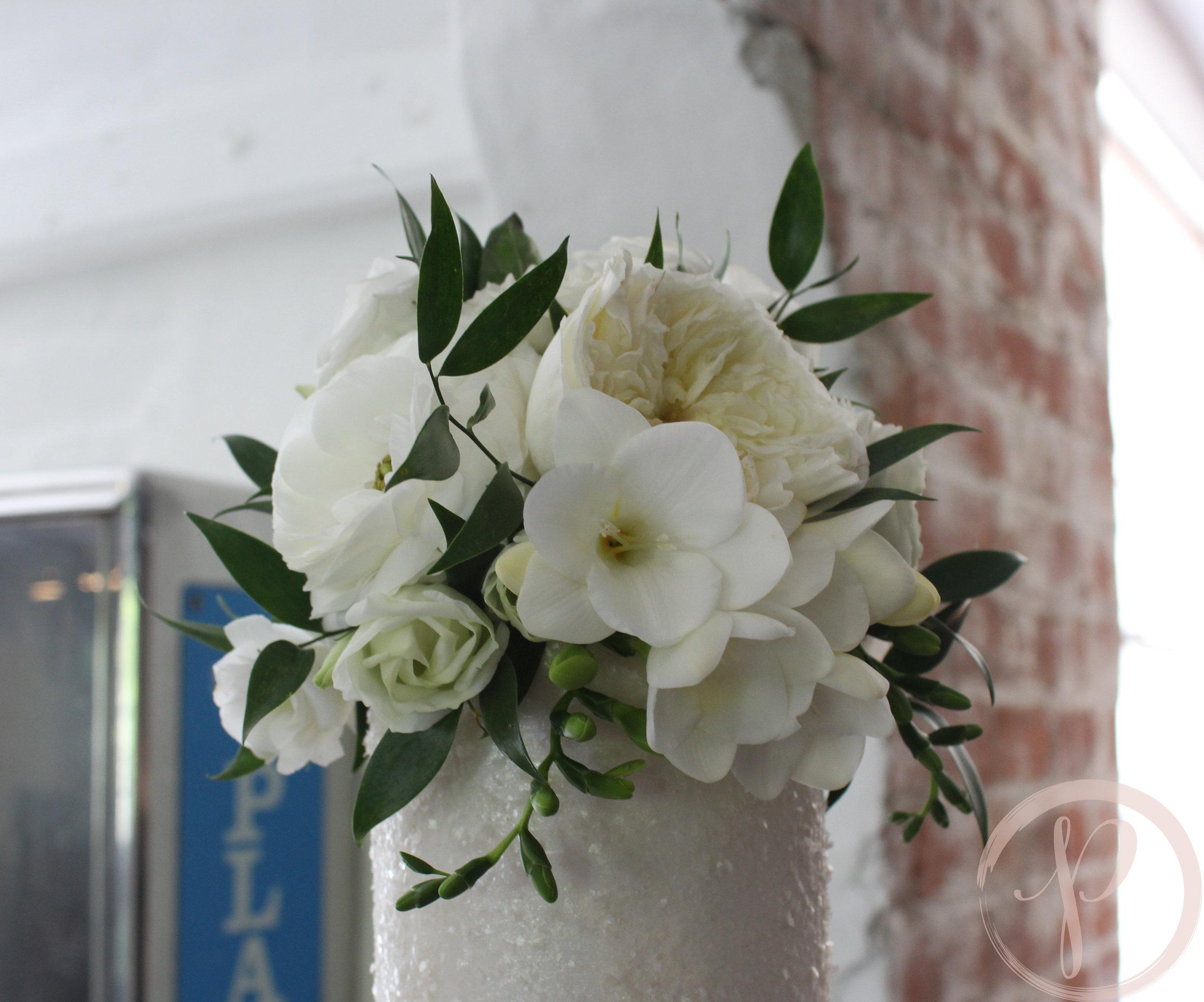 fresh flower topper sparkle wedding cake.jpg