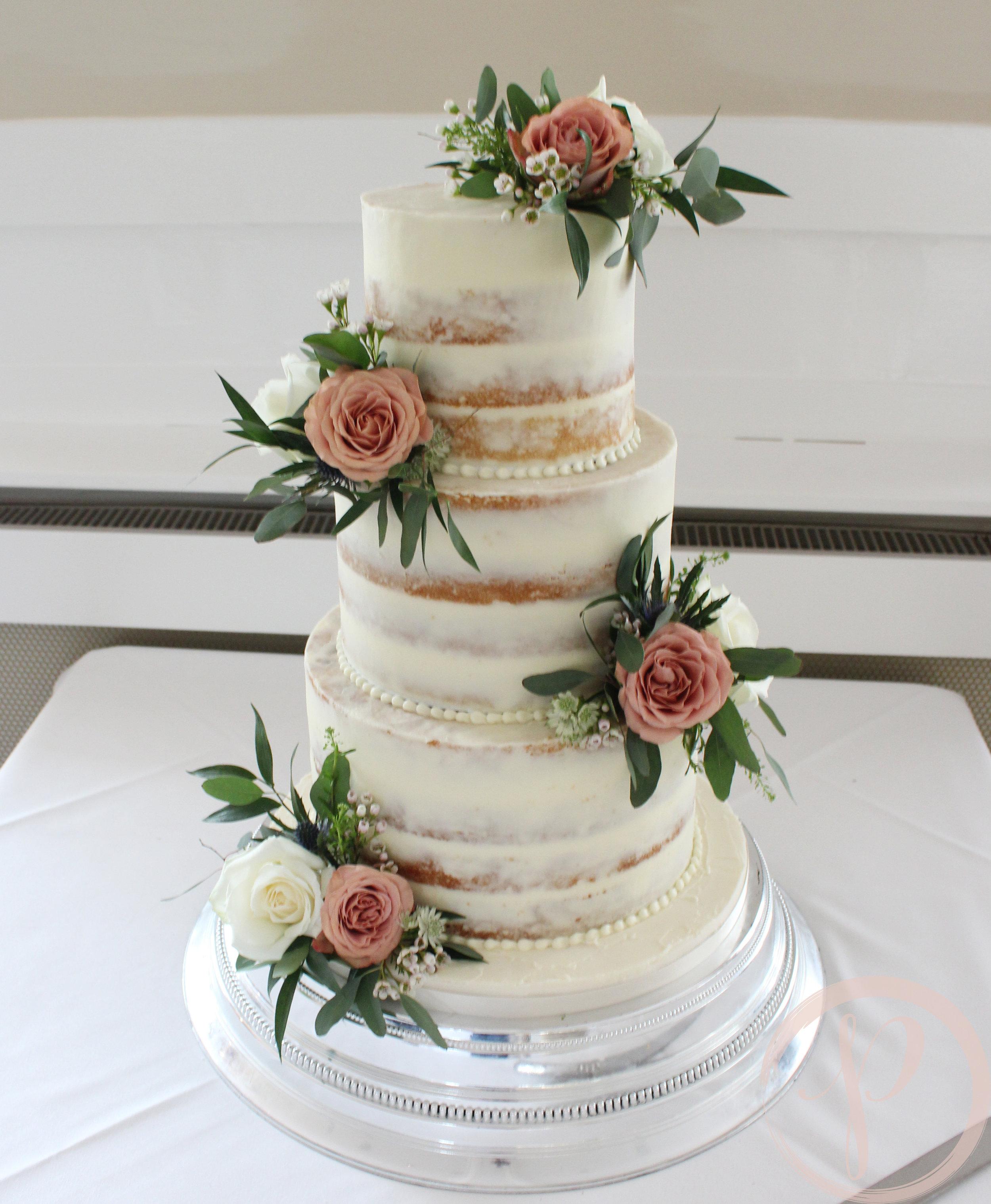 semi naked wedding cake cappucino roses.jpg