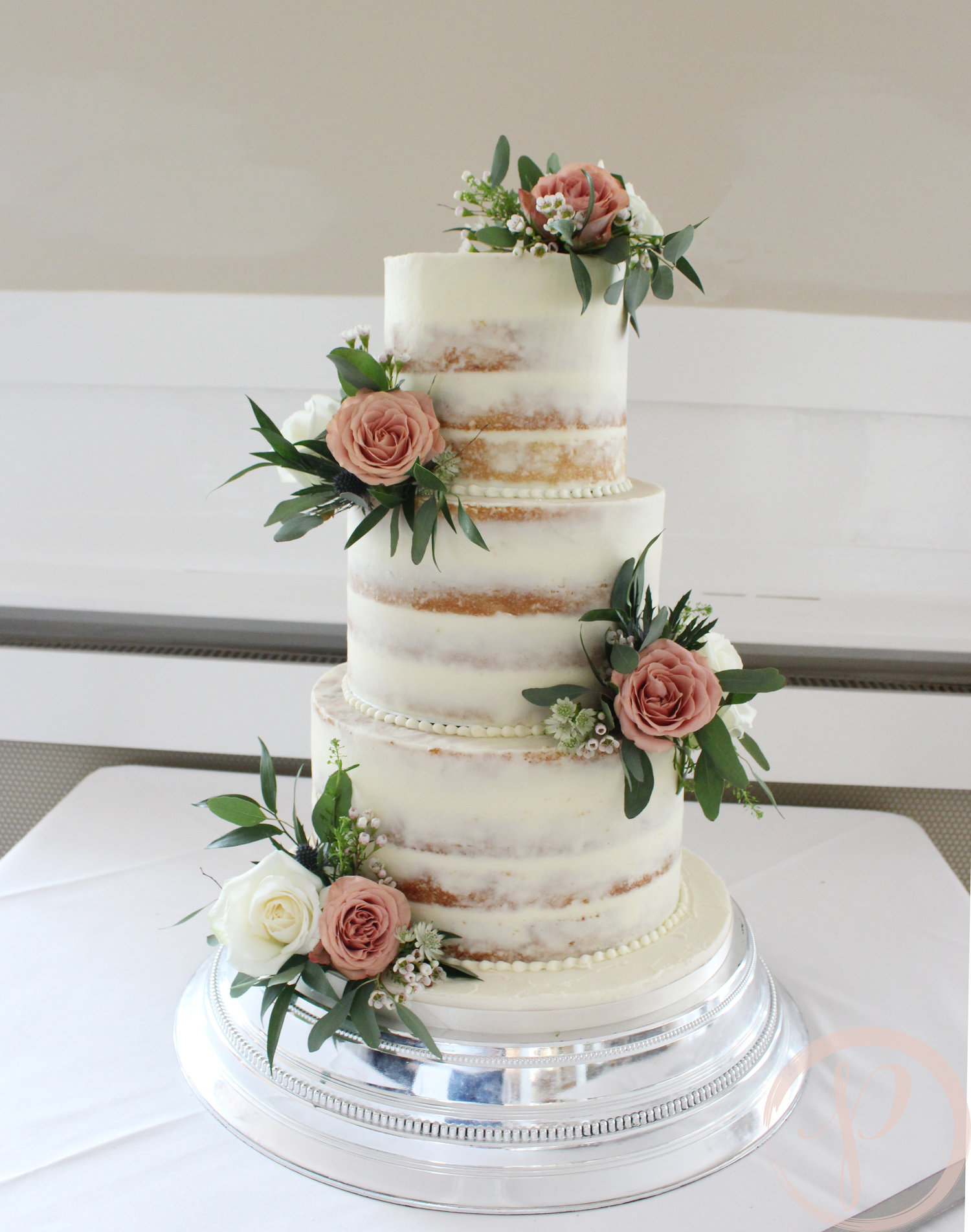 Semi Naked Wedding Cake With Fresh Flowers For Liz And Si The Pink Cake Box Wedding Cake Design