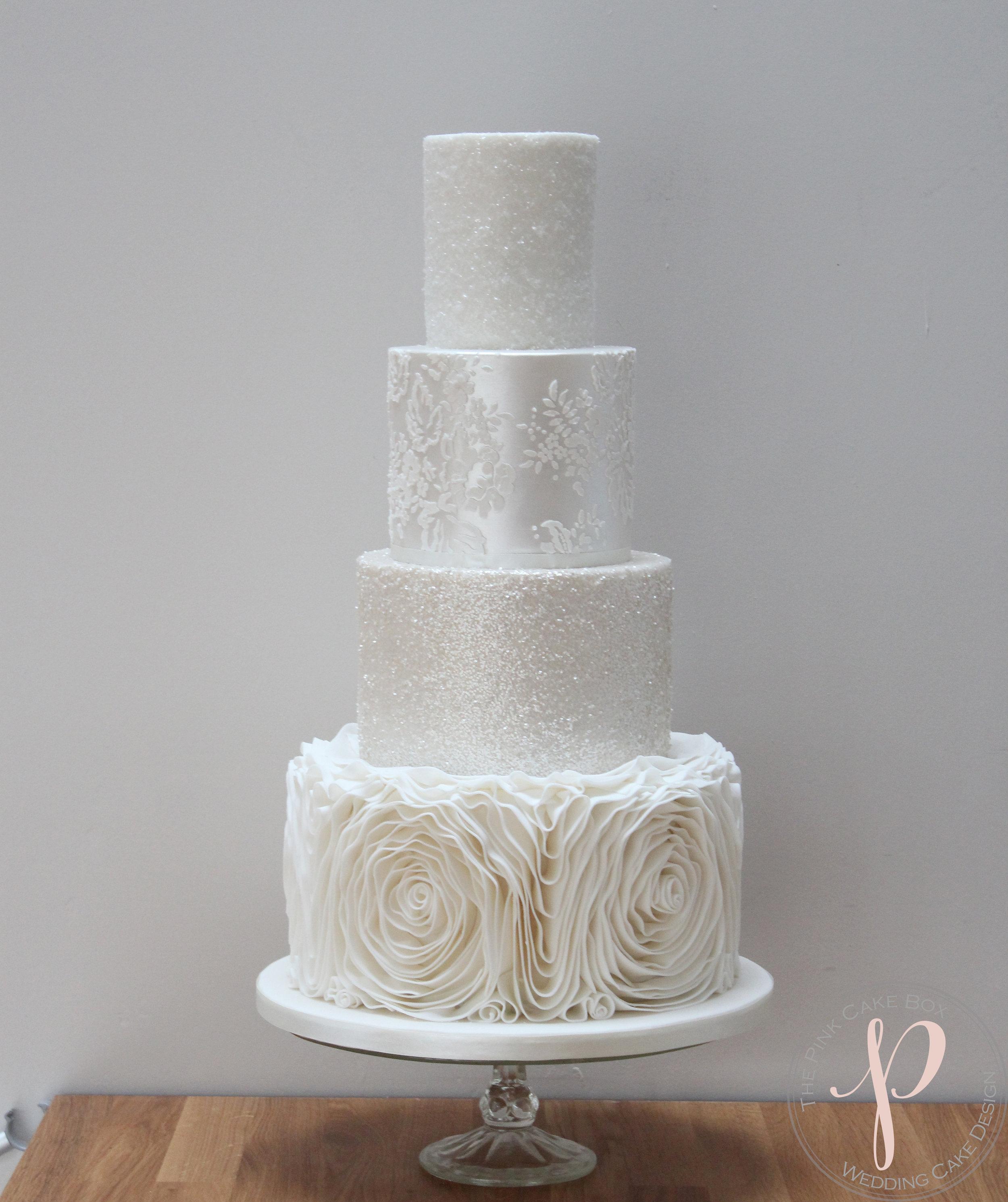 sparkly wedding cake with ruffles.jpg