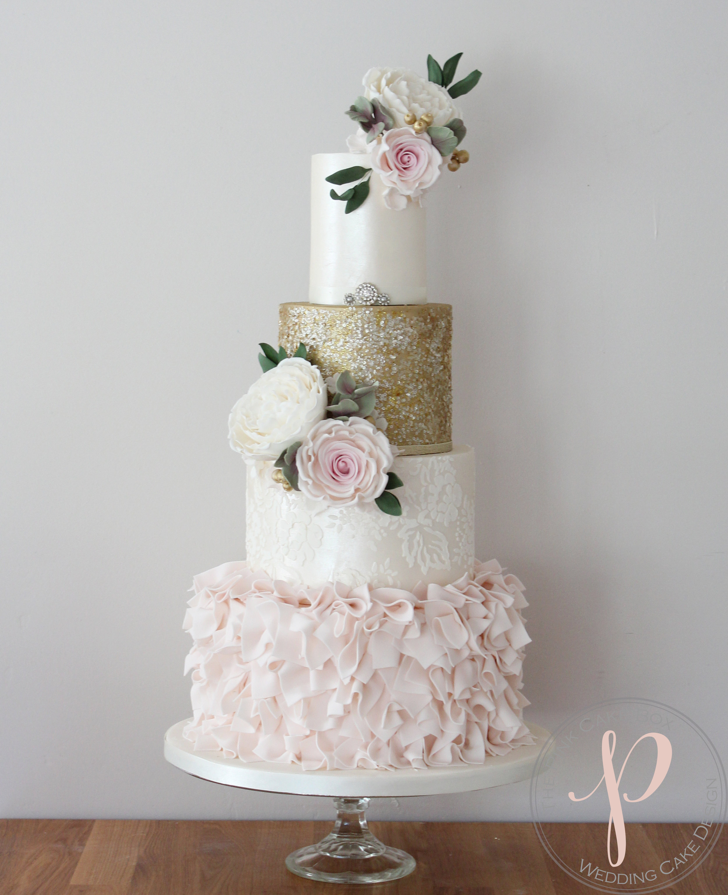 blush ruffle, gold sequin, lace lustre sugar flower wedding cake.jpg
