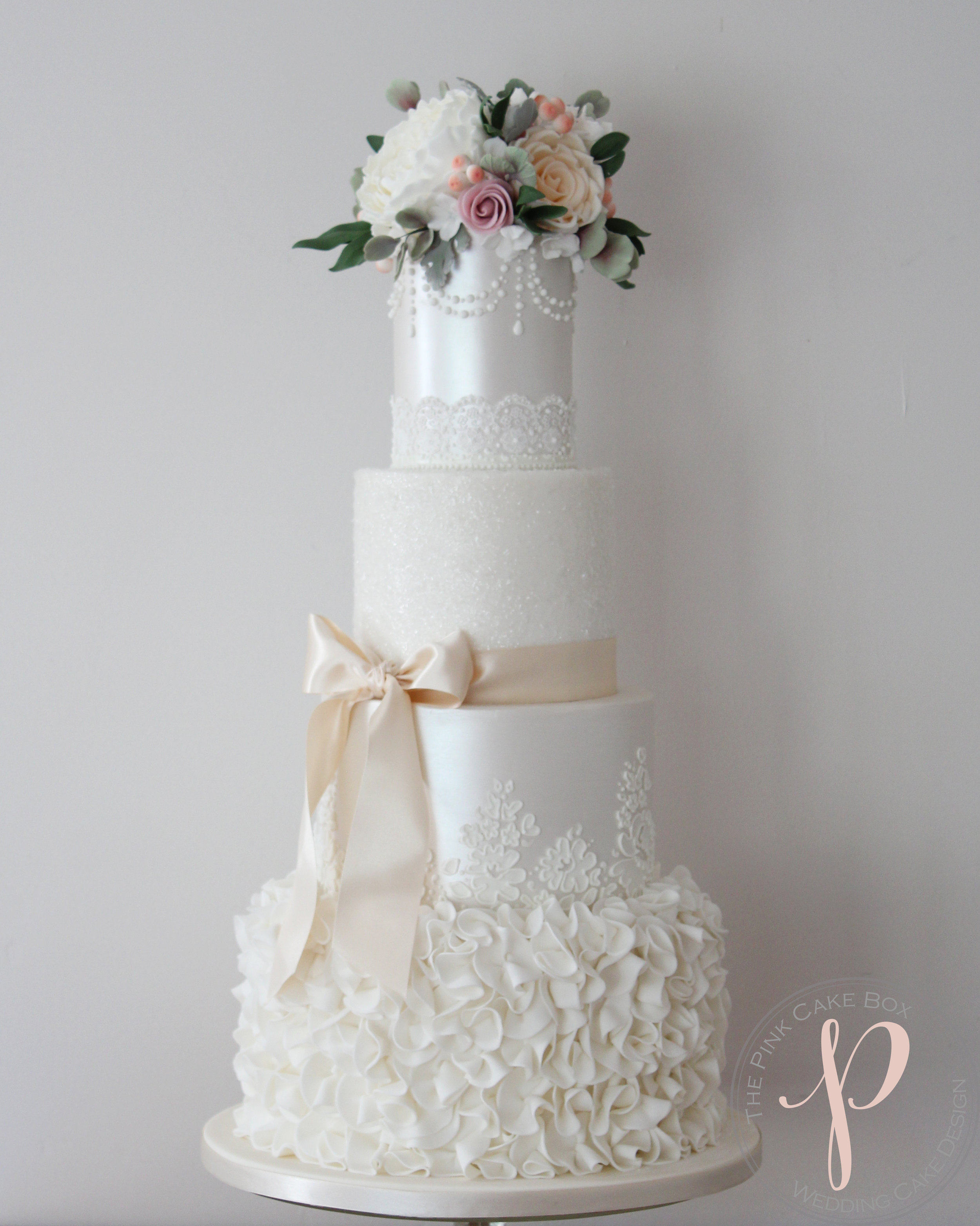 ruffle pearl lustre lace wedding cake with sugar flowers insta.jpg