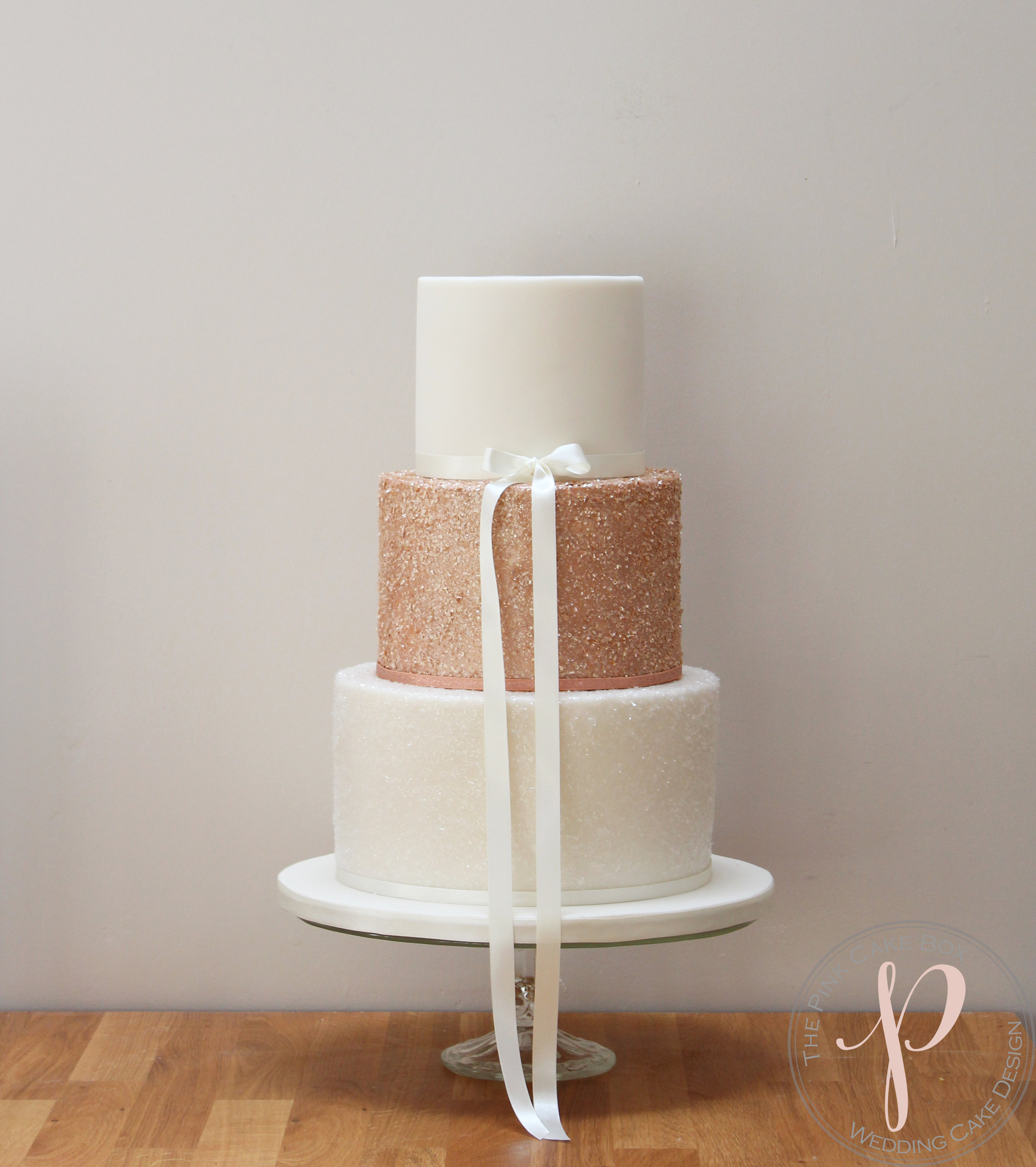 rose gold sparkle wedding cake.jpg