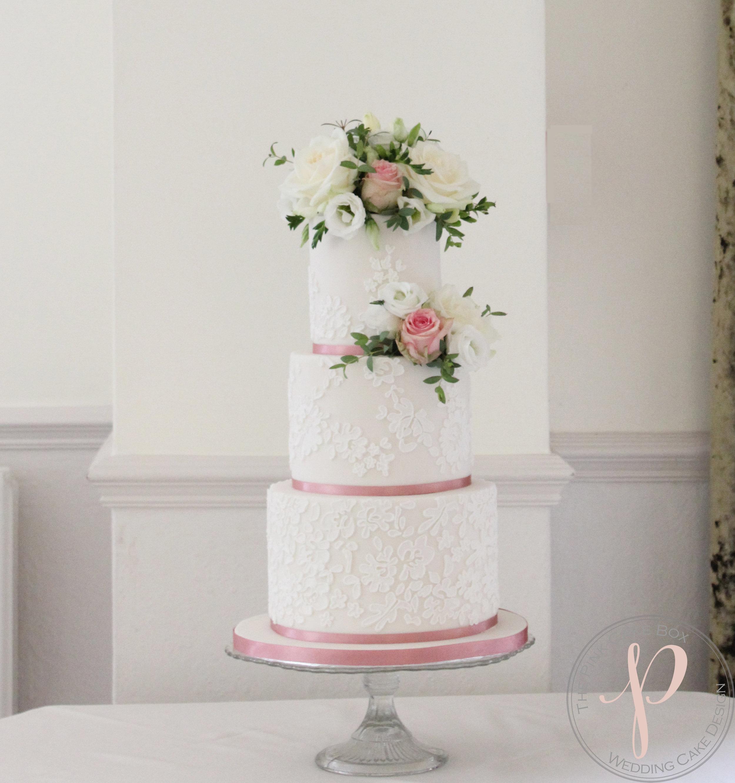 lace wedding cake dusky pink with fresh flowers.jpg
