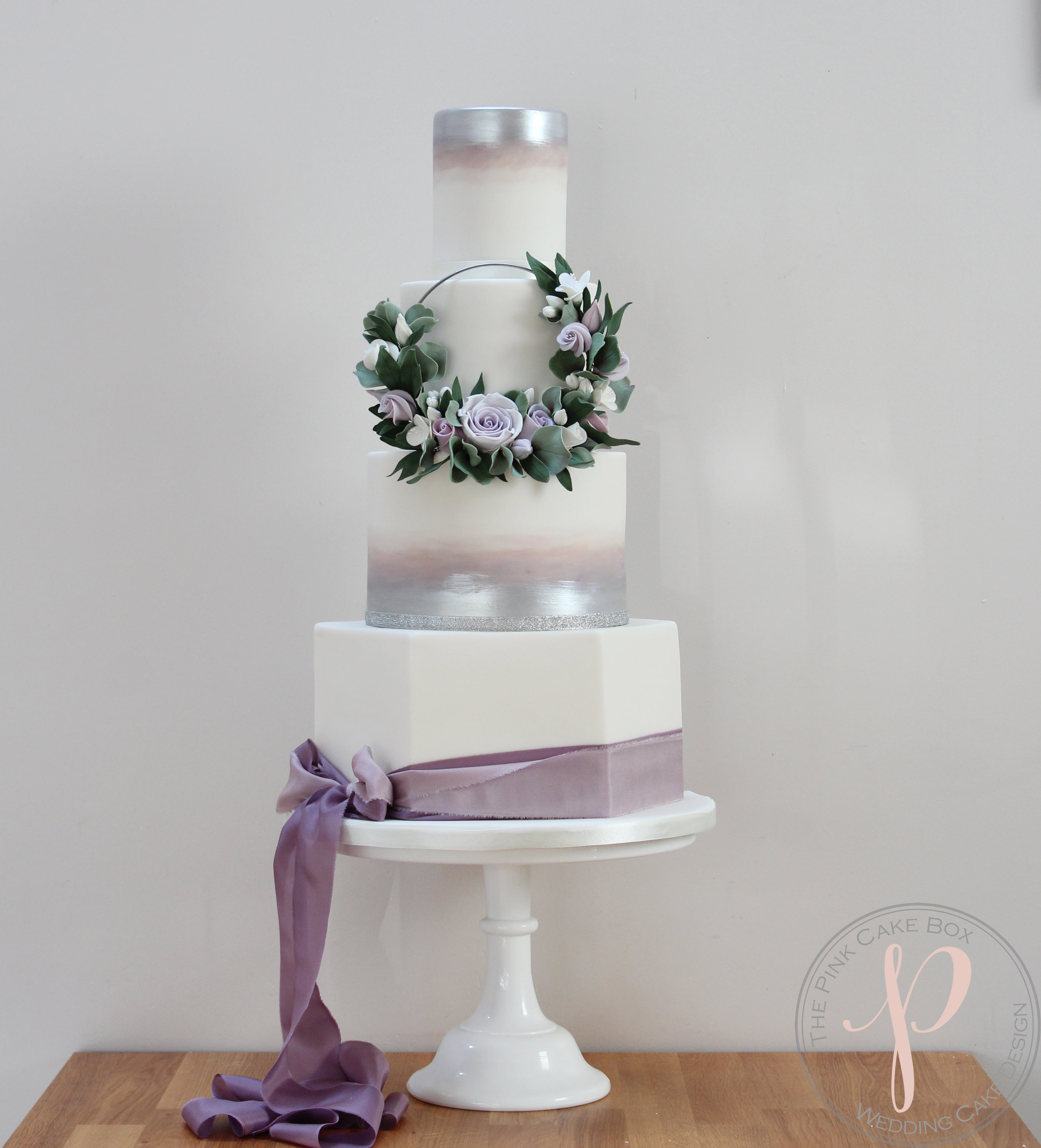 lilac silver floral hoop wedding cake with hexagon.jpg