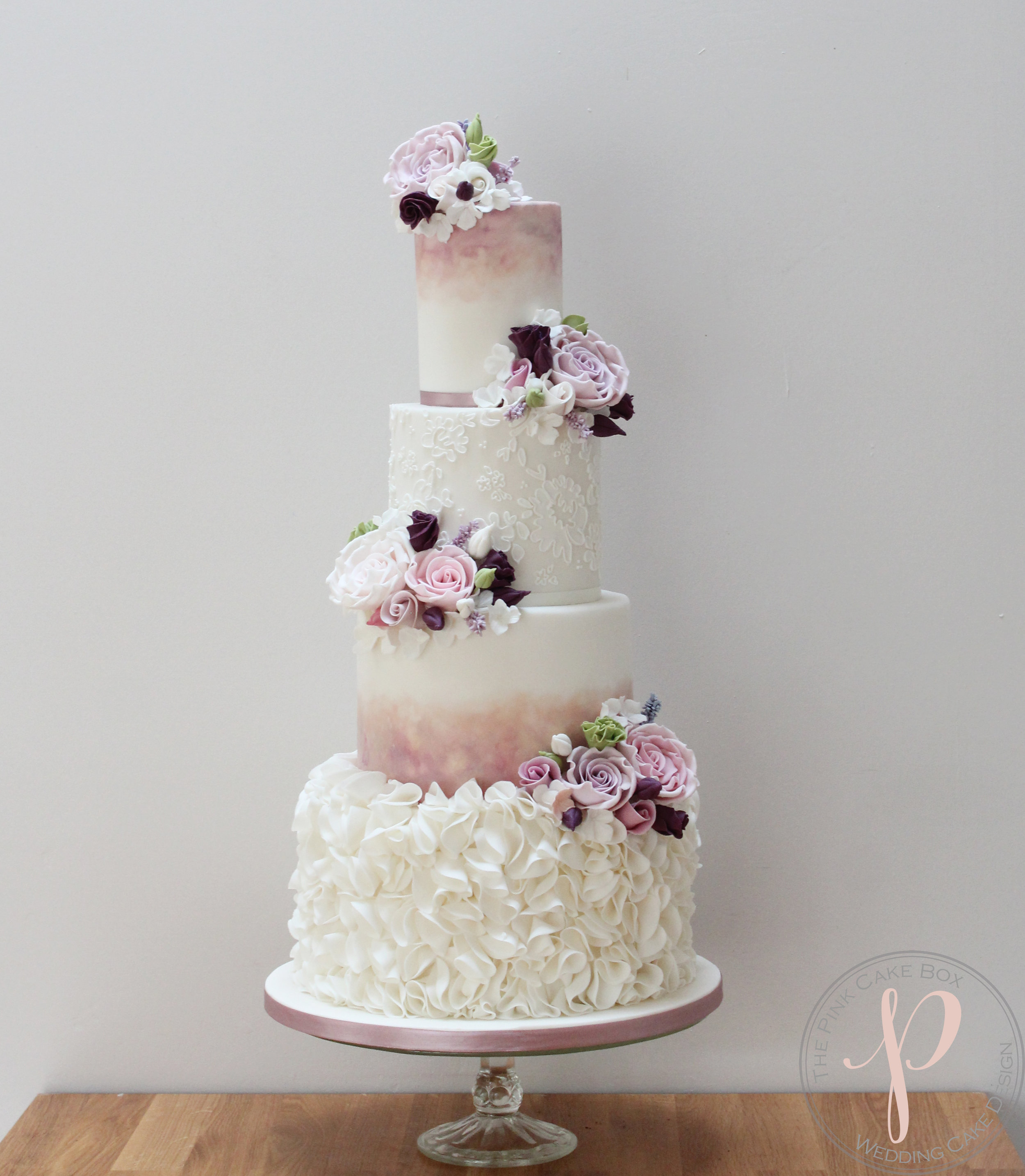 ruffle watercolour lace wedding cake with sugar flowers blush plum dusky pink.jpg