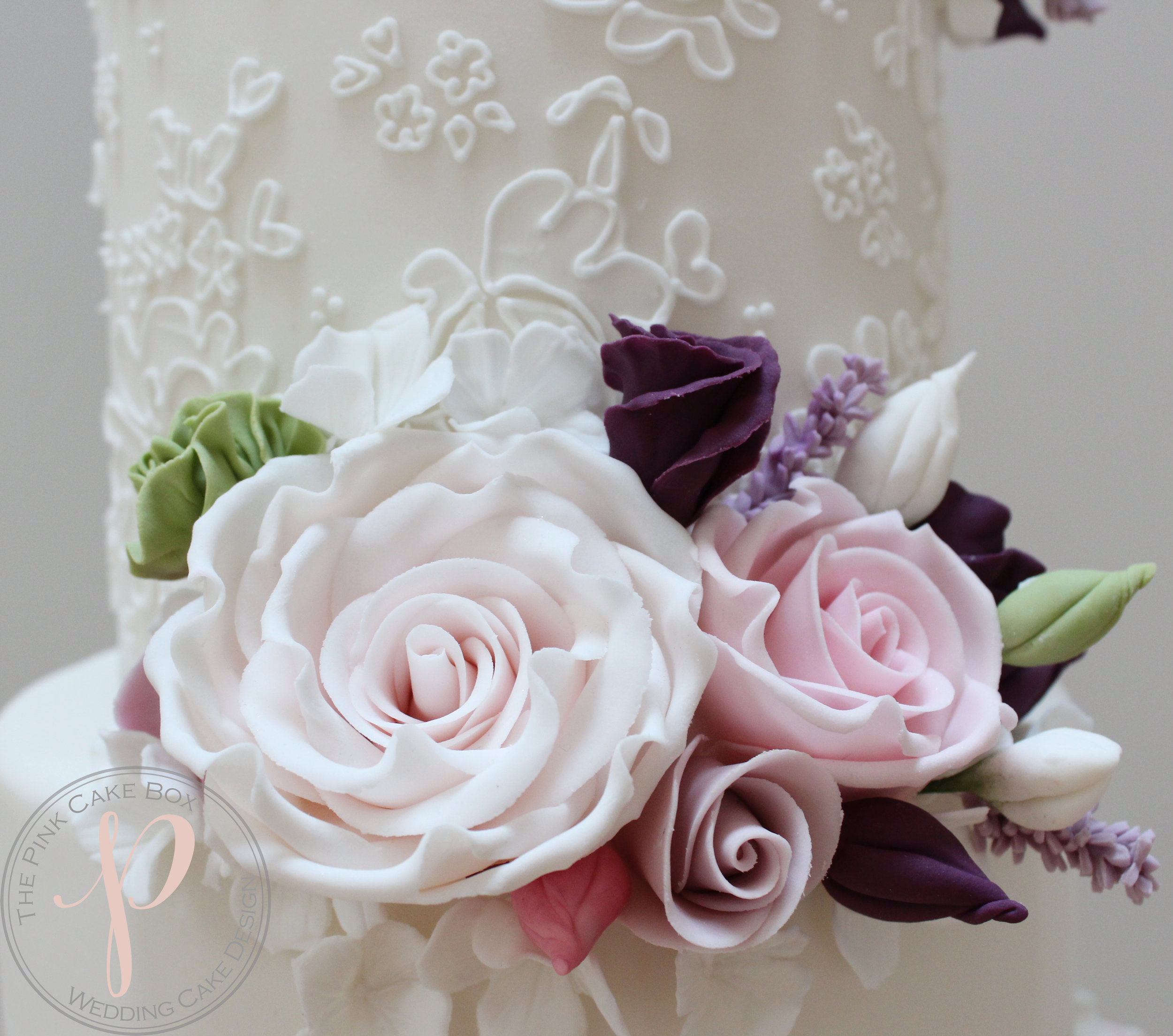 sugar flowers pinks lilac lace wedding cake.jpg