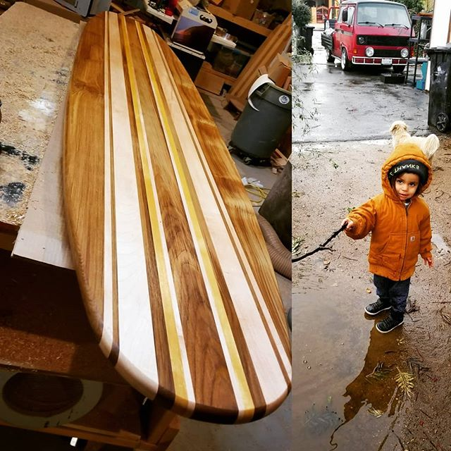 Finished up an awesome 10 foot #surf inspired countertop.  Teak yellowheart and maple. We love it when a few months of work comes together. Enjoying the rain with my mini. #woodworking #sup #goodvibes #rainyday #surfboard
