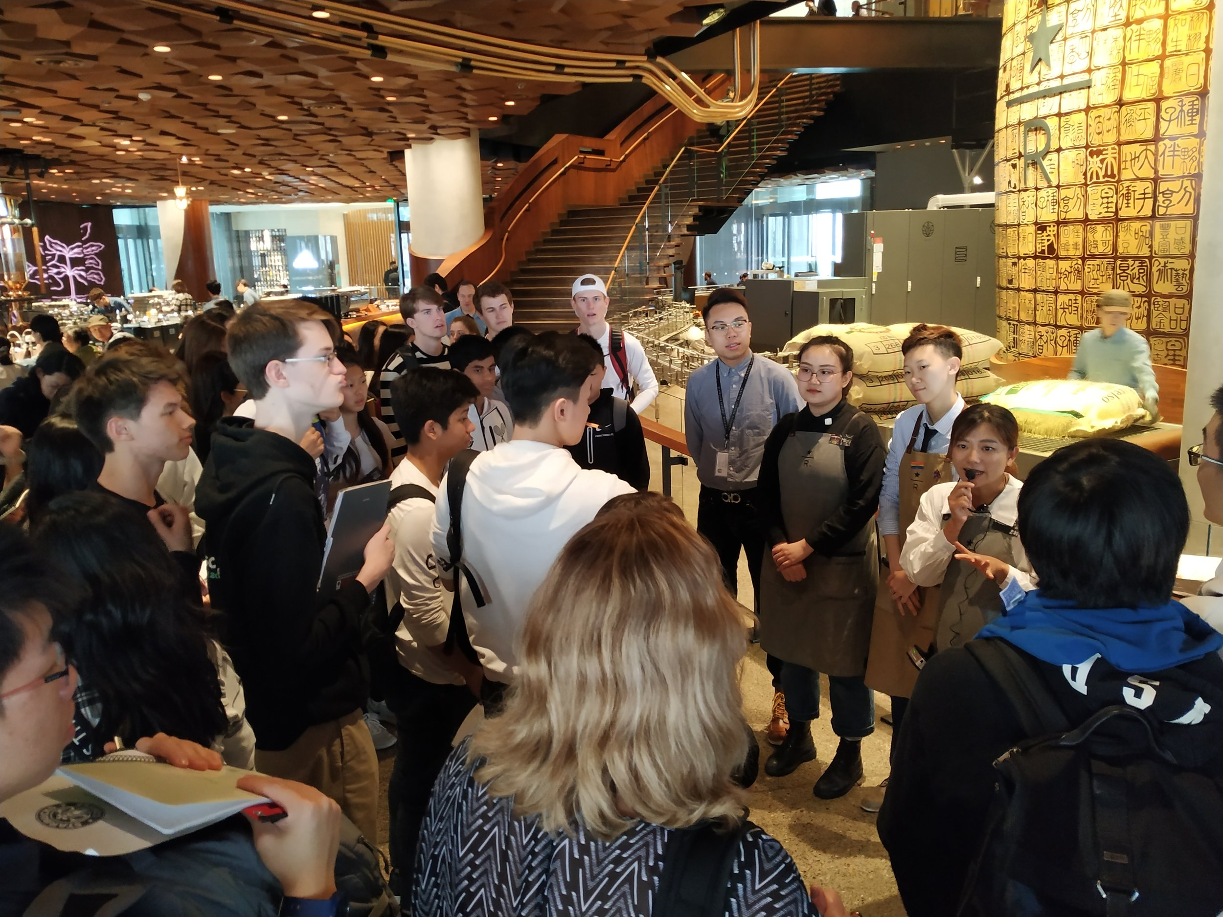 Starting off the AP English field trip at the Starbucks Reserve Roastery with an introduction to four baristas.