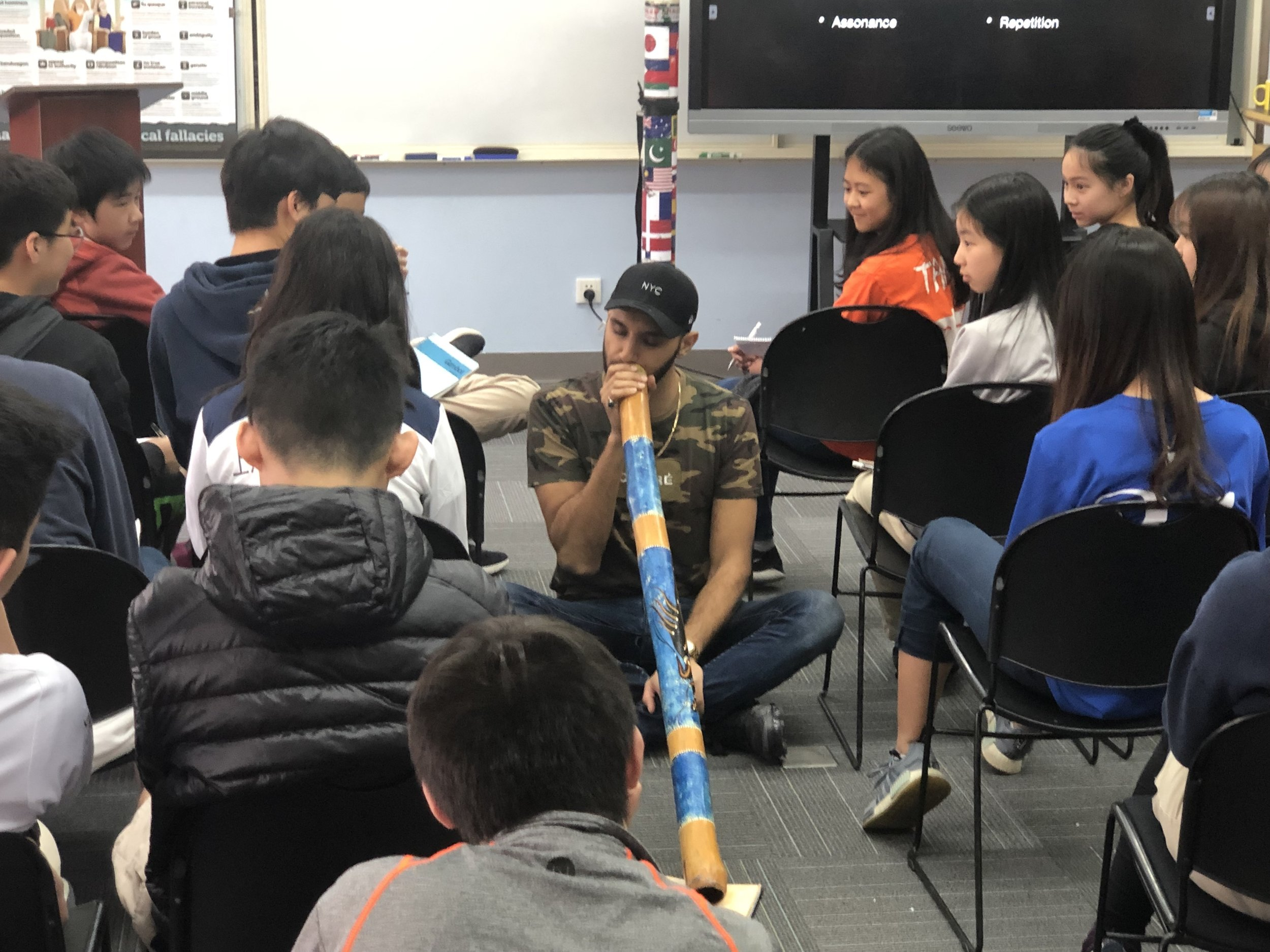 Zohab played his didgeridoo during poetry workshops with students, tying together music, performance and the beauty of words.