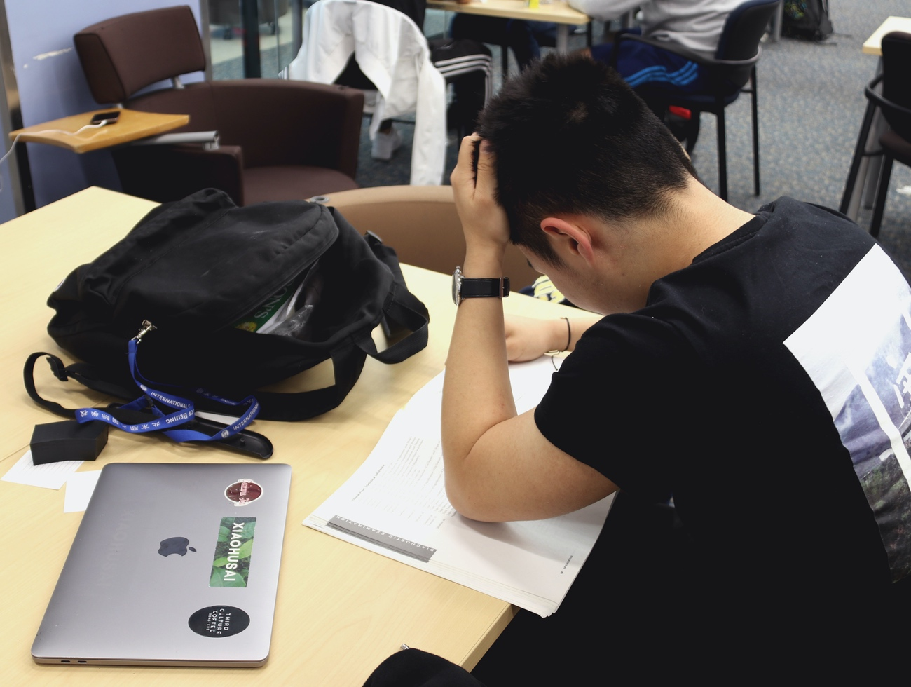 Even seniors, who are finished with college apps, feel some stress about AP exams.  (image: Evelyn S., Concordia Applied Journalism)